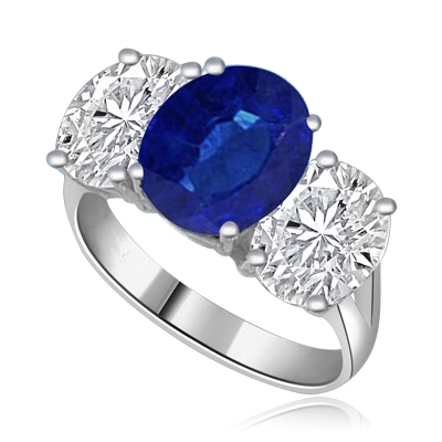 Three stone Jaw dropping oval sapphire stone ring