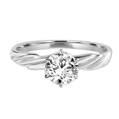 1 ct round stone platinum plated sterling silver ring