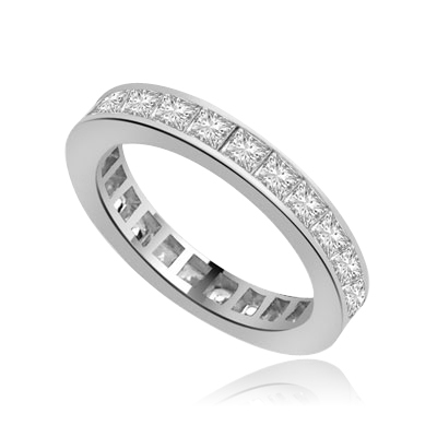 channel set princess diamond band in Platinum Plated Sterling Silver