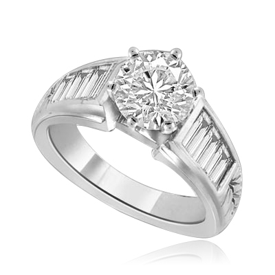2 cts Precocious-Glamourous Platinum Plated Sterling Silver Ring