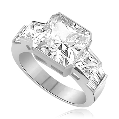 6.5 cts peerless square-cut Diamond ring in silver