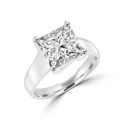 Platinum Plated Sterling Silver ring of Diamond Essence 3.5 carat princess-cut stone. This solitaire ring makes you feel like a millionaire.