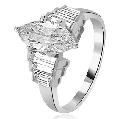 2ct. Marquise-cut Diamond silver ring