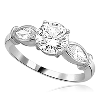 round diamond flanked by twin marquise cut stones sterling silver ring