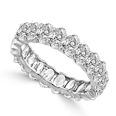classic eternity band of platinum plated sterling silver