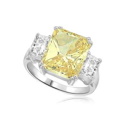 7ct canary stone with side baguette ring in silver