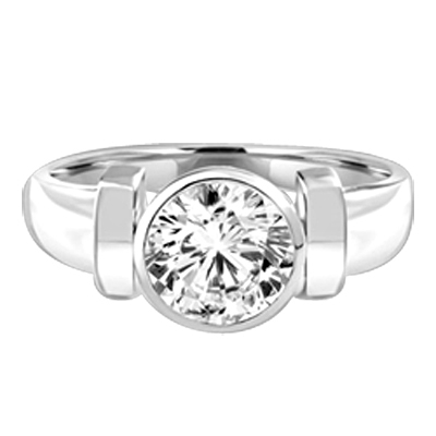 Solitaire Ring with 2ct. Round Brilliant  Diamond Essence, bezel set in Platinum Plated Sterling Silver.
