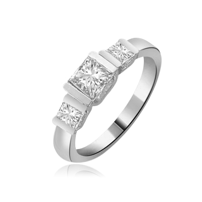 Cool & Trendy band with three princess cut Diamond ring in silver