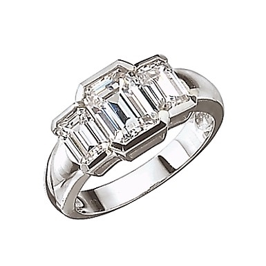 Diamond Essence Three Stone Ring--Emerald cut stones in bezel setting, 2.5 Cts.T.W. In Platinum Plated Sterling Silver.