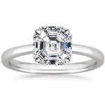 Platinum plated sterling silver ring with asscher cut  stone