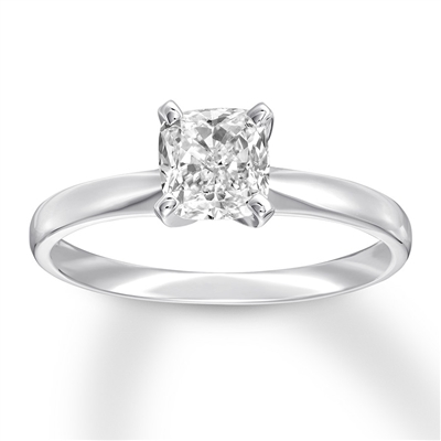 Platinum plated sterling silver ring with cushion cut  stone