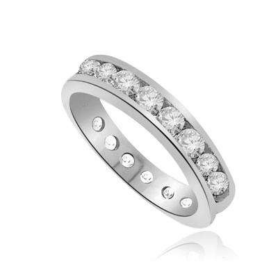 round diamonds encircle  channel-set wedding band of sterling silver