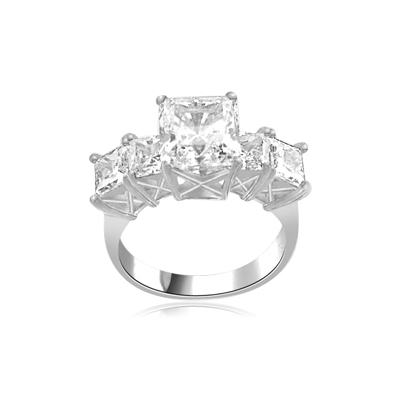 2ct Princess cut Diamond Masterpiece ring in silver