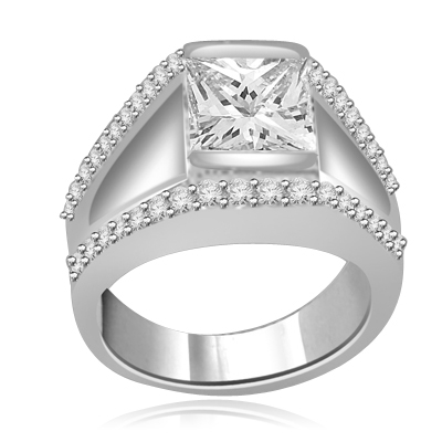 A unique contemporary Ring featuring a channel set 2 Ct. Princess Cut Diamond Essence Masterpiece with a melee of Round Cut accents. Thoroughly impressive 2.75 Cts. T.W, in Platinum Plated Sterling Silver.