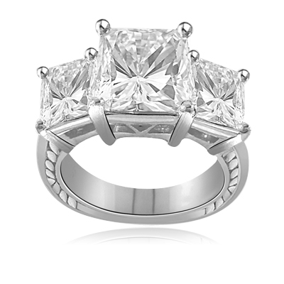 3ct bright Princess cut Diamond ring in silver