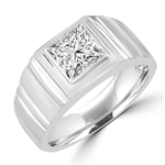 Platinum Plated Sterling Silver man's ring with 1.5 cts. t.w. radiant square center stone with florentine finish on band.