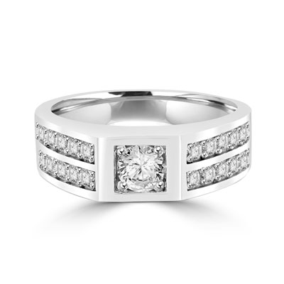 Platinum Plated Sterling Silver man's ring with .75 ct round Diamond Essence center stone with four rows of channel set round Diamond Essence accents, 2.0 cts.t.w.