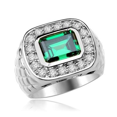 3bedc42f7ea99 Diamond Essence Ring with Emerald cut Emerald Stone and Brilliant Melee,  4.50 cts.t.w. - SRD4920E