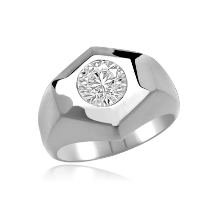 Classically Cut Man's Ring with an inviting 2.25Ct. Round Brilliant Cut Diamond Essence Masterpiece standing alone in equally awe inspiring setting. A great solo performance.In Platinum Plated Sterling Silver.