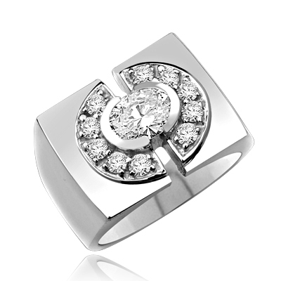 Man's ring, with 1.25 ct oval cut center stone, surrounded by melee stones encrusted horse shoes on side, 1.75 cts T.W. set in Platinum Plated Sterling Silver.