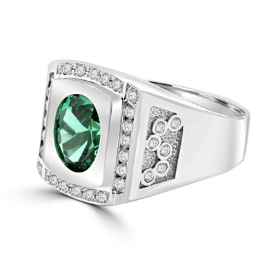 Bezel Set Two-Tone Ring with Simulated Oval Cut Emerald Diamond and Brilliant  Melee by Diamond Essence set in Sterling Silver