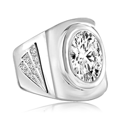 Man's classy wide bodied ring, two-tone with Oval cut center stone set in Platinum Plated Sterling Silver, 6.15 cts.t.w.