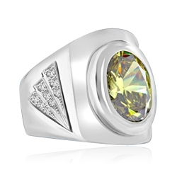 Man's classy wide bodied Ring, two-tone, with Oval cut center stone, set in Platinum Plated Sterling Silver, 6.15 Cts.t.w.