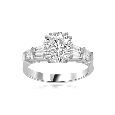 2.0 ct round brilliant diamond ring in silver