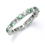 Eternal Flame Popular eternity band with alternating round cut Emerald Essence and Diamond Essence jewels. 2.0 cts.t.w. in Platinum Plated Sterling Silver.