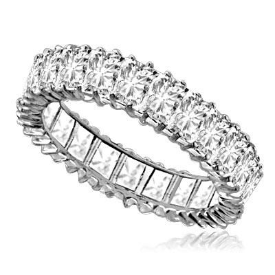 Emerald-Cut Eternity Band Platinum Plated Sterling Silver