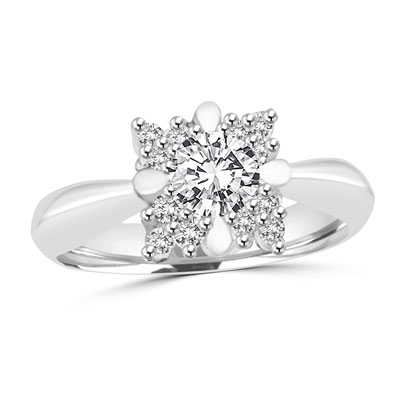 Prong Set Designer Ring with Lab-created Round Brilliant Diamonds by Diamond Essence set in Sterling Silver