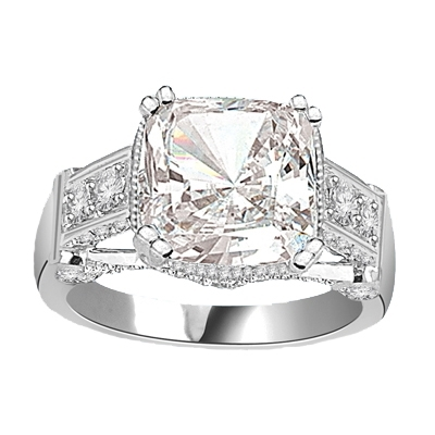 four carat cushion-cut silver ring