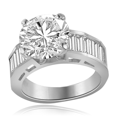 6 ct Solitaire set in Platinum plated on sterling silver on wide band of baguettes