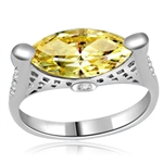 ring with marquise cut citrine stone in silver