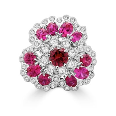 A beautiful ring in floral design. Diamond Essence ruby and round brilliant masterpieces.5.0 cts. T.W. set in Platinum Plated Sterling Silver. A perfect party wear to get compliments.