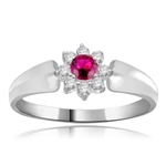 Little Ruby Flower Ring in Platinum Plated Sterling Silver