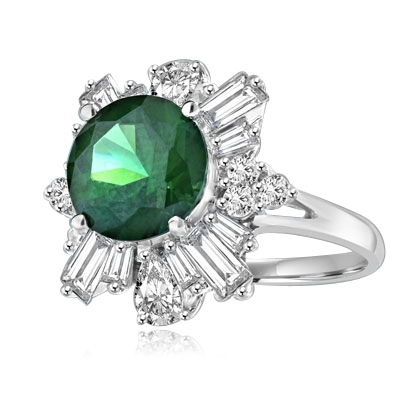 Dazzling ring of 2.5 ct round-cut Emerald Diamond Essence stone with 'petal' baguettes of Diamond Essence round and teardrop masterpieces all around. 4.25 cts. T.W. set in Platinum Plated Sterling Silver.
