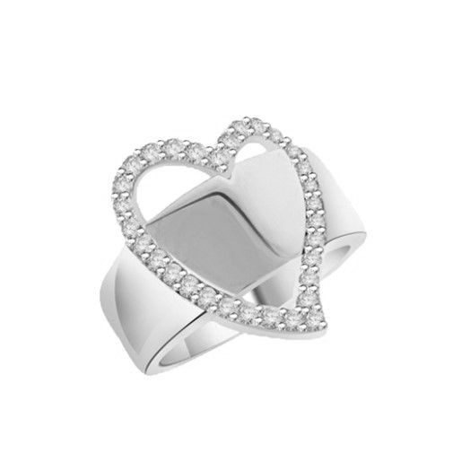Brilliantly crafted Diamond Essence ring with 31 round stones set in heart a flutter. 1.75 cts.t.w. in Platinum Plated Over Sterling Silver.