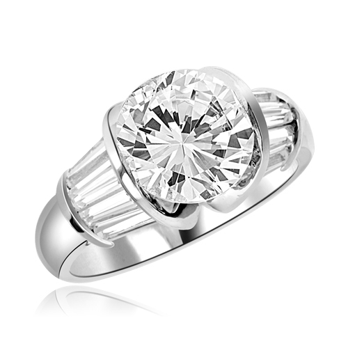 3ct round brilliant majestic ring in silver
