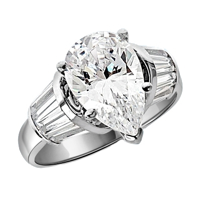 Majestic Pear cut Diamond Essence ring. 3 carat Pear center encircled by baguettes accents on either side. 5.0 cts.t.w. in Platinum Plated Sterling Silver.