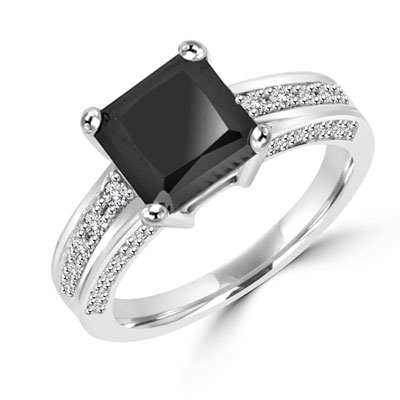 Diamond Essence designer ring with 3.0 ct Princess Cut Onyx Essence center surrounded by Round stones, 3.5 ct. tw. in Platinum Plated Sterling Silver.