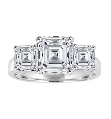 Three Stone Ring - 2.0 Carat Asscher Cut Diamond Essence Stone in the center and 0.75 carat Asscher  Cut Diamond Essence stones on each side.3.5 cts. t.w.