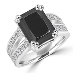 Diamond Essence Designer ring with 5.0 ct. Onyx stone in center with two rows of round stone on each side of the band, 5.50 ct. tw. in Platinum Plated Sterling Silver.