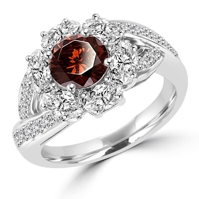 Diamond Essence Designer Ring with 1.0 ct. round Chocolate stone in center, surrounded by Oval stone and small round stones on each side of band. 3 cts. tw. set in Platinum Plated Sterling Silver.