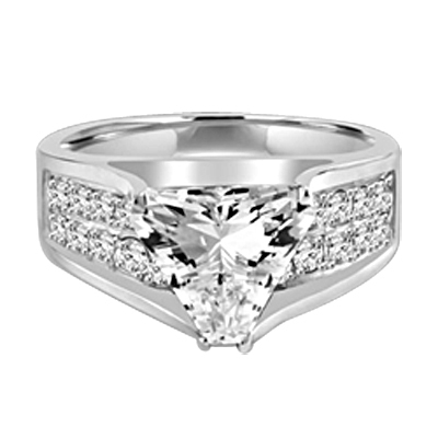 Magnificent Ring with 4Ct. Trilliant Cut Center adorning the mount on a glimmering band with melee of Round brilliant accents. 5.5 Cts. T.W. set in Platinum Plated Sterling Silver.