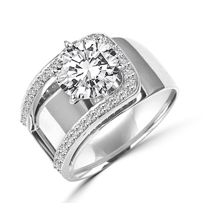 Beauty to Behold. A unique design with 2 Ct. Center and ascending band with round melees. 2.5 Cts. T.W. In Platinum Plated Sterling Silver.