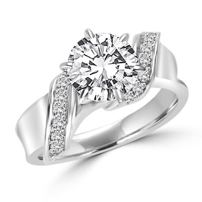 Intertwined Love! Brilliant 2 Ct Center in perfect harmony with twirling band of Round Stones. 2. 5 Cts. T.w. In Platinum Plated Sterling Silver.