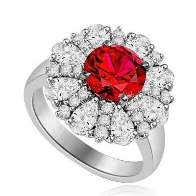 Diamond and Ruby Ring - Outstanding Ring with 2.0 cts. Round Ruby Essence in Center surrounded by Pear cut Diamond Essence and Melee. 5.5 Cts. T.W. set in Platinum Plated Sterling Silver.