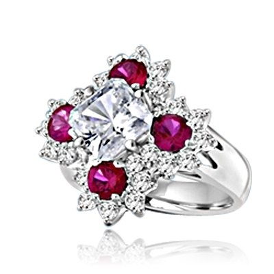 Designer Ring With Asscher cut Diamond Essence in center surrounded by Floral Design created with Round Ruby Essence and Melee. 6.0 Cts. T.W. set in Platinum Plated Sterling Silver