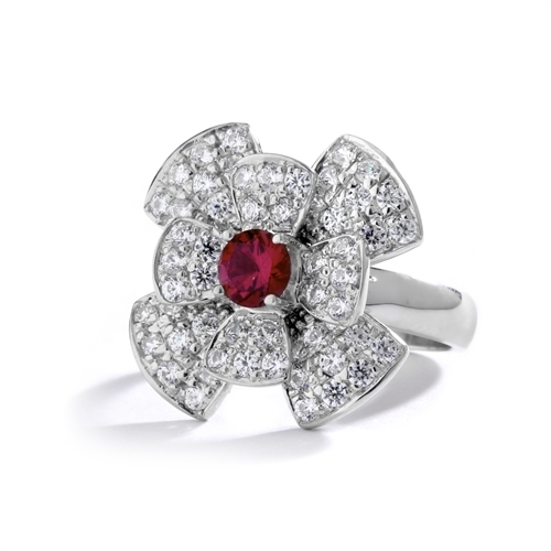 Stack of flowers - 0.65 Ct. Round Ruby Essence set in center of floral design Melee setting. 3.0Cts. T.W. set in Platinum Plated Sterling Silver.